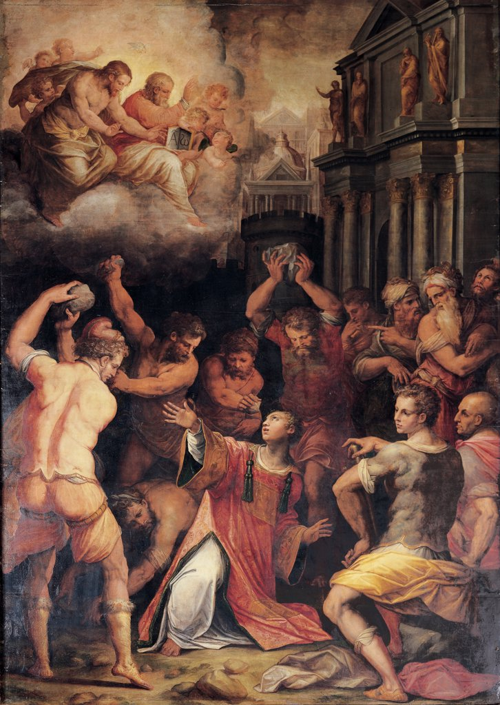 Stock Photo: 1899-46447 The Lapidation of St Stephen, by Vasari Giorgio, 1573, 16th Century, panel. Italy: Tuscany: Pisa: Santo Stefano dei Cavalieri church. Whole artwork. Martyrdom saint Acts of the Apostles St Stephen executioners stones bystanders/onlookers men Paul of Tarsus Saulos armor/cuirass cloud Jesus Christ, God the Father facade church columns statues entablature tympanum red yellow pink brown