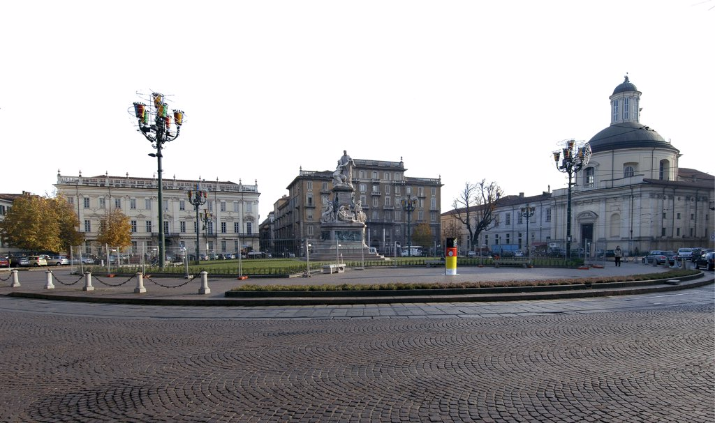 Piazza Carlo Emanuele II, by Unknown artist, 17th Century, . Italy: Piemonte: Turin: Piazza Carlo Emanuele II. View 'Piazza Carlina' Piazza Carlo Emanuele II 17C Piedmontese Baroque religious building church of Santa Croce dome statue center historical figure Camillo Benso Cavour : Stock Photo