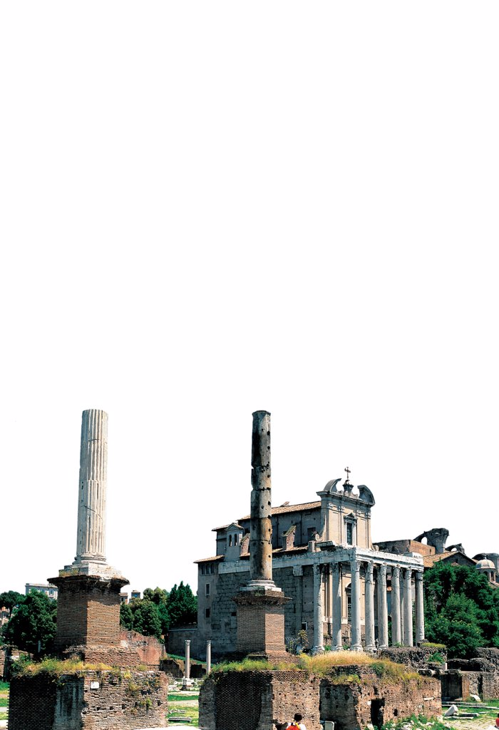 Temple of Antoninus and Faustina, by Unknown artist, 141, 2nd Century, . Italy: Lazio: Rome: Roman Forum. View ancient Rome temple columns Roman forum ruins Temple of Antonino e Faustina : Stock Photo
