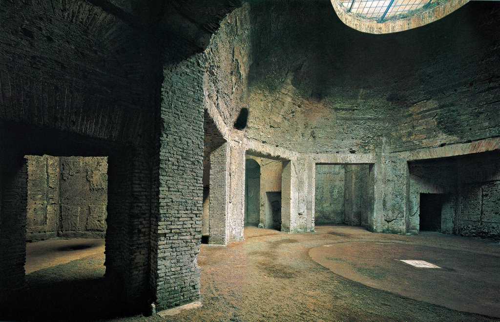 Domus Aurea, Rome, by Unknown artist, 64,1st Century, unfaced brick. Italy: Lazio: Rome: Domus Aurea. Internal view octagonal room that represented centre of complex of east wing of Domus set on architrave pillars light oculus shadows : Stock Photo
