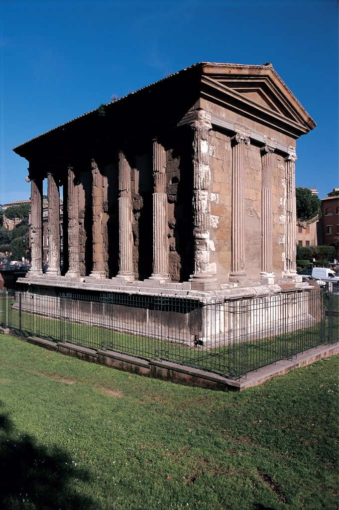 Temple of Fortuna Virilis (or Temple of Portunus) in Rome, by Unknown artist, 2nd Century, marble. Italy: Lazio: Rome: Foro Boario. View of the Temple of Fortuna Virile Portunus Ancient Roman god rectangular plan columns base tympanum pilaster strips Ionic capital : Stock Photo