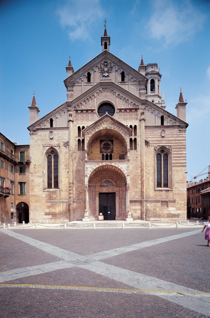 Stock Photo: 1899-46597 Duomo of Verona - Santa Maria Matricorale, by Unknown artist, 1117 - 1187, 12th Century, marble and tufa. Italy: Veneto: Verona: Santa Maria Matricolare Cathedral. View doorway bas-reliefs rose-window column-bearing lions Cathedral Verona square double-lancet windows dual prothyrum tripartite facade pediment surmounted arch tympanum/gable orders of columns bas-reliefs