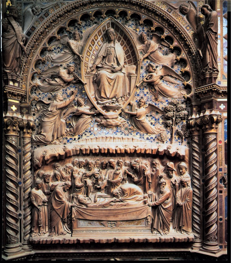 Stock Photo: 1899-46685 Death and Assumption of the Virgin, by Andrea di Cione known as Orcagna, 1359, 14th Century, marble. Italy: Tuscany: Florence: Orsanmichele Church. Whole artwork. Death and Assumption of the Virgin Mary detail of tabernacle