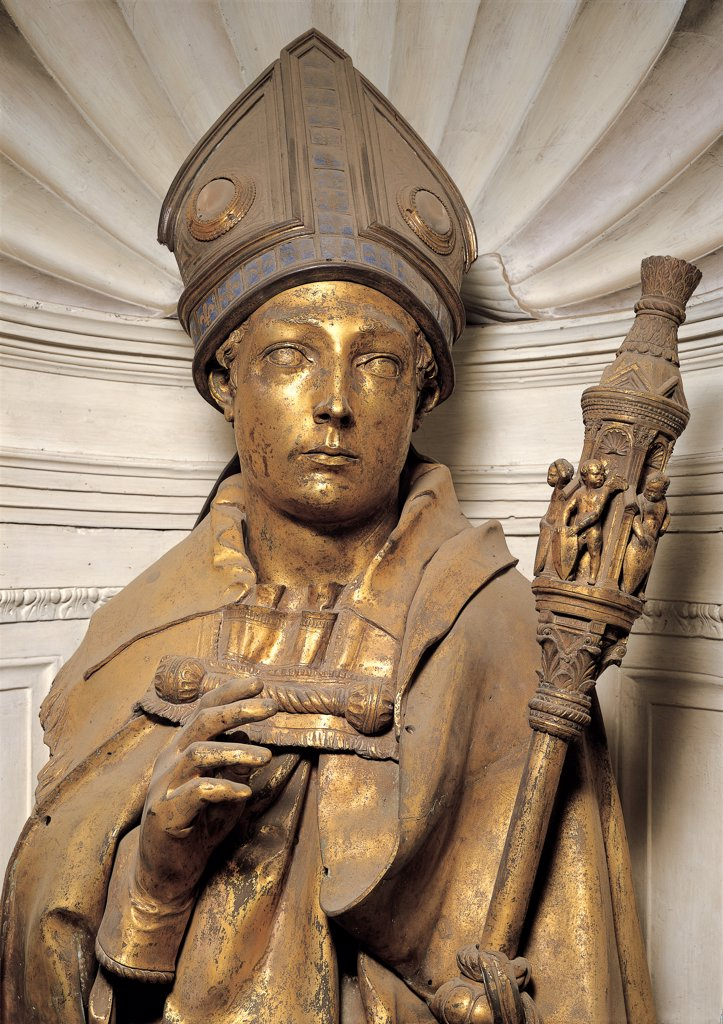 St Louis of Toulouse, by Donato di Niccolo di Betto Bardi known as Donatello, 1420, . Italy: Tuscany: Florence: Santa Croce Opera Museum. Detail. Tabernacle of Guelph Side Niche Saint Mitre Scepter Bishop pastoral stick mantle/cloak gold : Stock Photo
