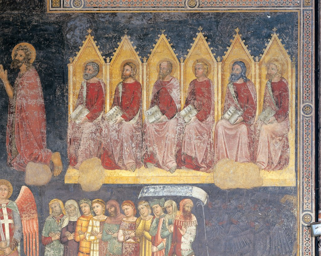 The Last Judgment, by Turone, 1360, 14th Century, fresco. Italy: Veneto: Verona: Sant'Anastasia church: chancel area. Detail. The Last Judgment/Doomsday groups blessed souls demons damned/lost souls blue : Stock Photo