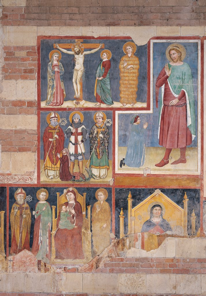 Stock Photo: 1899-46737 Frescos of the north aisle, by Maestro di San Giorgio e il drago a San Zeno, 14th Century, fresco. Italy. Veneto. Verona. San Zeno Maggiore basilica. Jesus Christ crucified between The Virgin Mary St John and St Mary Magdalene St George and the dragon between two Saint Bishops clients. Fresco painters of Verona of St Sigismund and a devotee Madonna with Child Enthroned armor helmet pastoral/crosier staff Cross aureole/halo