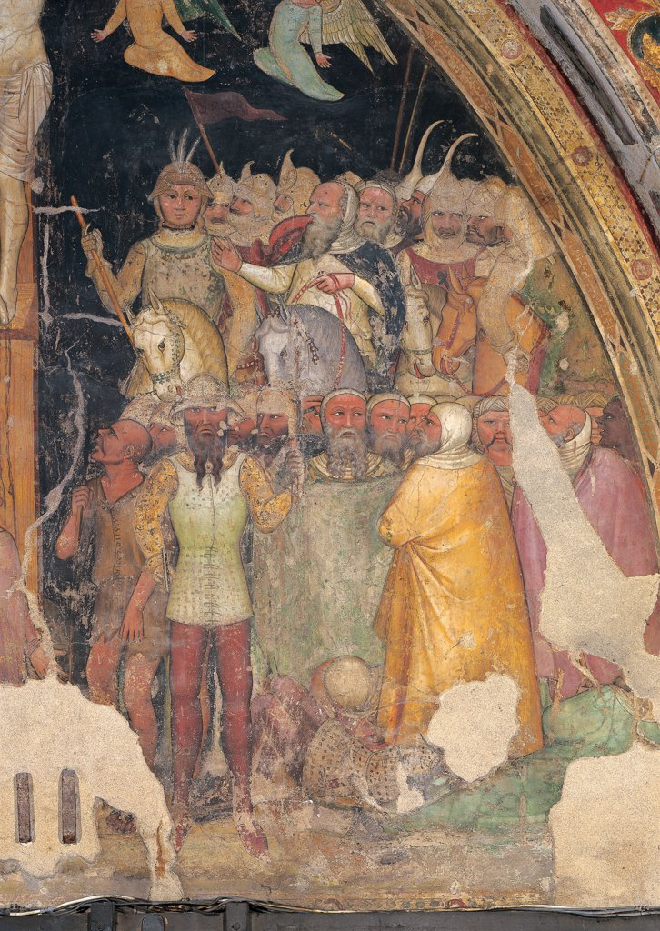 The Crucifixion, by Turone, 14th Century, fresco. Italy: Veneto: Verona: San Fermo Maggiore Church. Detail of the Crucifixion scene painted on the inner wall of the facade horse soldiers yellow mantle/cloak lance/spear helmet armor : Stock Photo