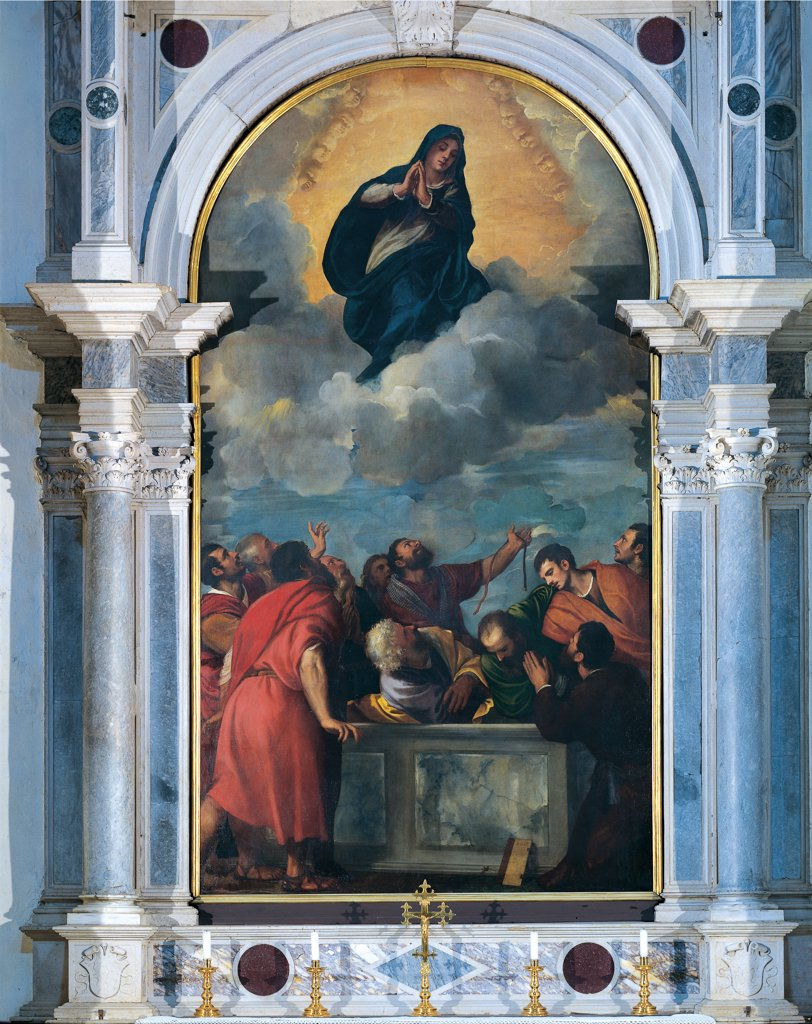 Stock Photo: 1899-46758 Assumption of the Virgin Mary, by Vecellio Tiziano known as Titian, 1532, 16th Century, canvas. Italy: Veneto: Verona: Santa Maria Matricolare Cathedral. Whole artwork. Madonna/Virgin Mary of the Assumption frame columns Apostles/Disciples sepulcher Madonna Virgin Mary clouds empty tomb/sepulcher red garment/dress blue mantle/cloak gesture prayer belt