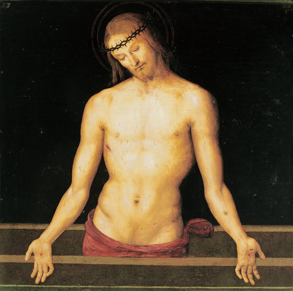Stock Photo: 1899-46765 Jesus Christ on the Sarcophagus, by Vannucci Pietro known as Perugino, 1445 - 1523, 15th Century, panel. Italy: Umbria: Perugia: The National Gallery of Umbria. Whole artwork. Jesus Christ of the Sarcophagus torso/chest stigmata crown of thorns
