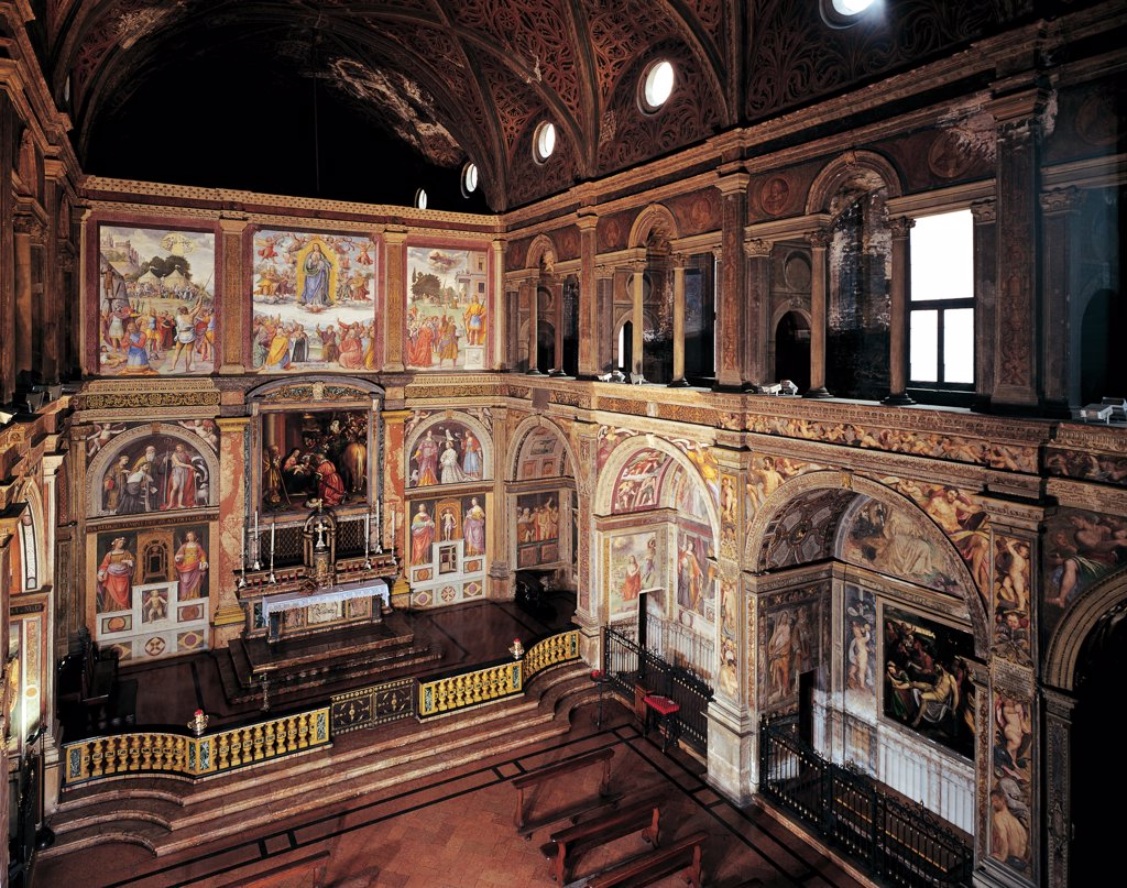 San Maurizio al Monastero Maggiore Church, Milan, by Unknown artist, 1503, 16th Century, . Italy: Lombardy: Milan: San Maurizio al Monastero Maggiore. Interior conventual church side chapels women's gallery arcades frescoes monastery serlian vault partition (wall) : Stock Photo