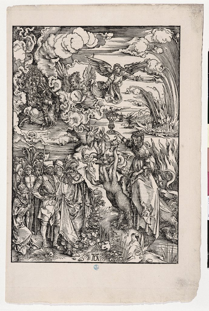The Whore of Babylon, by Durer Albrecht, 1496 - 1497, 16th Century, woodcut. Italy: Tuscany: Florence: Uffizi Gallery: Cabinet of Drawings and Prints, inv. 4937 st.sc.. Whole artwork. The Prostitute/Harlot of Babylon clouds angel prostitute Apocalypse scarlet beast with seven heads and ten horns dress hairstyle/hairdo : Stock Photo
