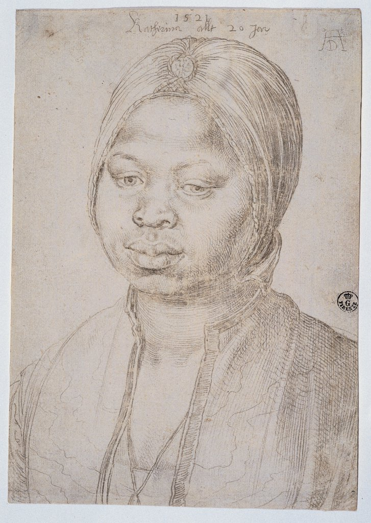 Stock Photo: 1899-46803 Portrait of Catherine the Mulatta, by Durer Albrecht, 1518, 16th Century, silverpoint on white paper treated on back with ivory white color. Italy: Tuscany: Florence: Uffizi Gallery: Cabinet of Drawings and Prints, inv. 1060 E. Whole artwork. Portrait La Mora Caterina (dark-haired Caterina) face blouse eyes nose mouth chin scarf/neckerchief headdress/headgear