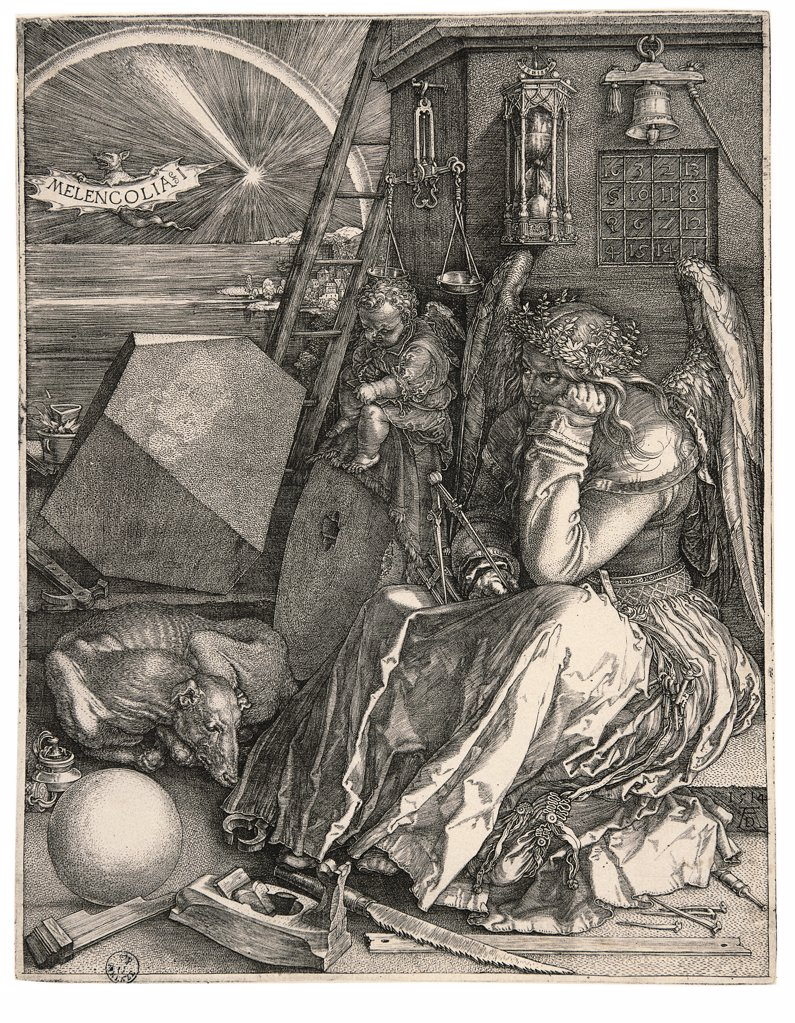 Melencolia I, Melancholia I, by Durer Albrecht, 1514, 16th Century, burin engraving. Italy: Tuscany: Florence: Uffizi Gallery: Cabinet of Drawings and Prints, inv. 4680 st. sc.. Whole artwork. Melancholy I - Melancholy tools woman wings keys nails dog ball sphere rock polyhedron ladder putto/cherub hourglass/sandglass bell light bat writing/inscription balance/scale/scales hammer plane saw crown of laurel compasses/caliper/calipers wheel landscape beach/sea-shore night darkness arch comet balcon : Stock Photo
