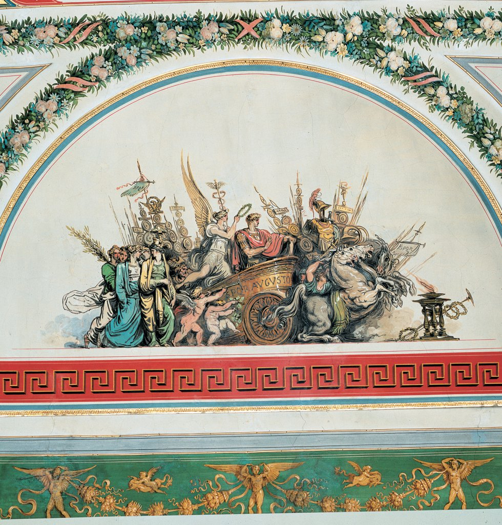 Decoration of the Room of the Triumphs at Palazzo Baciocchi in Bologna, by Giani Felice, 1822, 19th Century, tempera on wall (fresco). Italy: Emilia Romagna: Bologna: Palazzo Baciocchi. Vault lunette Triumph of Augustus red white and green flowers festoons fruit frame meanders : Stock Photo