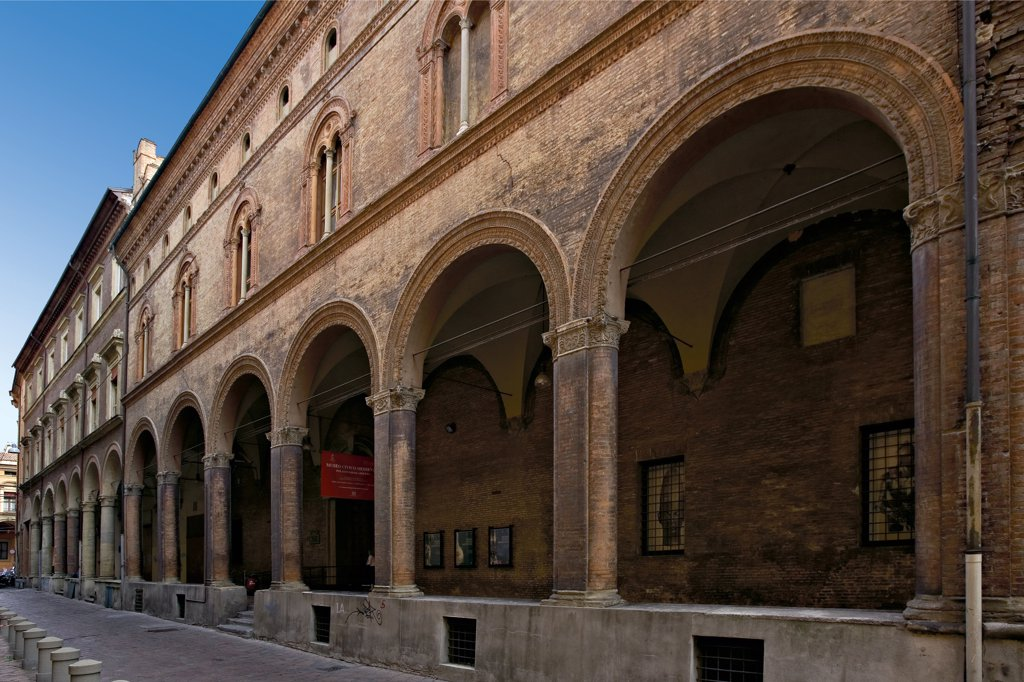 Stock Photo: 1899-46825 Palazzo Ghisilardi-Fava, by Unknown artist, 15th Century, . Italy: Emilia Romagna: Bologna: Palazzo Ghisilardi-Fava. View palazzo portico pilasters arches cornice string-course two-light windows/two mullion terracotta decoration one-light windows/one mullion top frieze dentils