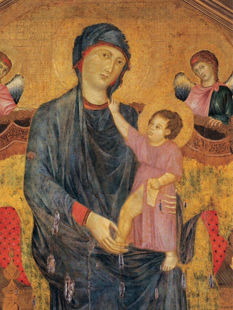 Stock Photo: 1899-46841 Madonna and Child Enthroned with Two Angels, by Cenni di Pepo known as Cimabue, 13th Century, panel. Italy: Emilia Romagna: Bologna: Santa Maria dei Servi church. Detail. Panel angels Madonna Virgin enthroned red blue gold Baby/Child Jesus aureole/halo red dress sign of regality he holds a scroll