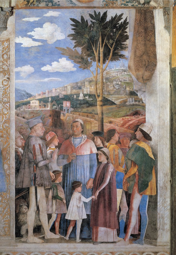 Decoration of the Camera degli Sposi (Camera Picta), by Mantegna Andrea, 1465 - 1474, 15th Century, fresco and dry tempera. Italy. Lombardy. Mantua. Ducal Palace. Western wall, right-hand episode/scene of Ludovico Gonzaga meets his sons Federico and Francesco. A landscape with a fortified city can be seen in the background : Stock Photo