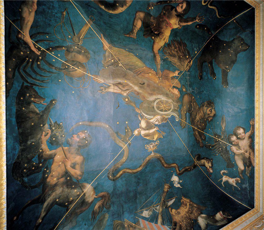 Zodiac, by Costa Lorenzo il Giovane, 1579, 16th Century, fresco. Italy: Lombardy: Mantua: Ducal Palace: soffitto della Sala dello Zodiaco. Detail. Frescoed ceiling Zodiac signs of the Zodiac blue : Stock Photo