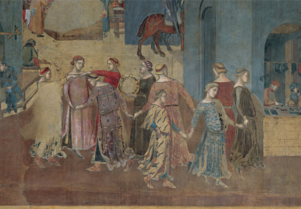 The Effects of Good Government in the City and Country, by Lorenzetti Ambrogio, 1338 - 1339, 14th Century, fresco. Italy: Tuscany: Siena: Palazzo Pubblico: Sala dei Nove. Detail. City group women ladies dancing circle ring-a-ring-o'roses tambourine shoemaker's shop : Stock Photo