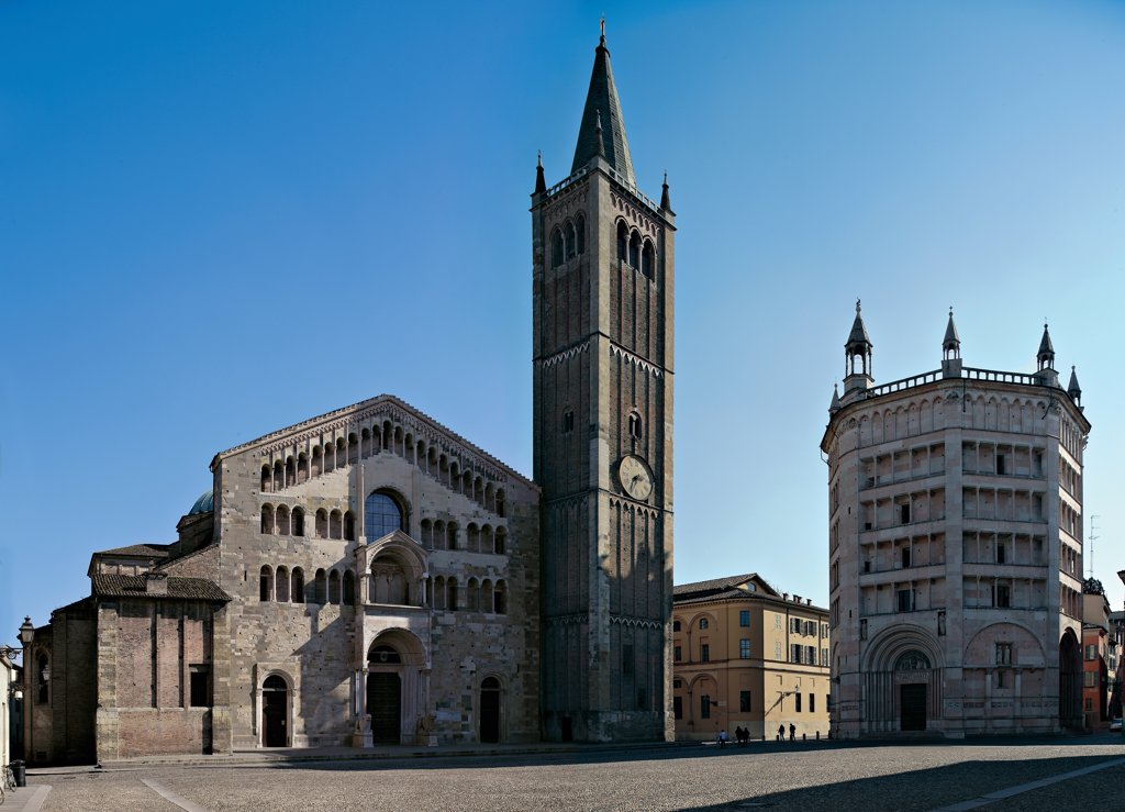 Stock Photo: 1899-47024 Piazza del Duomo, by Unknown artist, 1059, 11th Century, . Italy: Emilia Romagna: Parma: Cathedral: Piazza del Duomo. Whole artwork. View Piazza del Duomo architectural masterpiece Middle Ages cathedral baptistery palazzo walls Po Valley Romanesque basilica bell tower