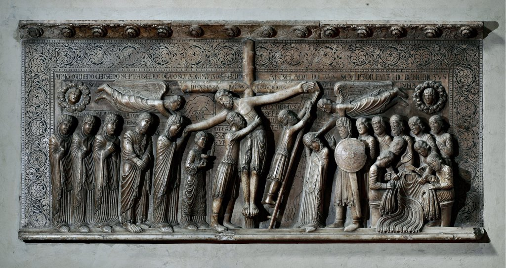 Stock Photo: 1899-47030 Deposition, by Antelami Benedetto, 1178, 12th Century, marble, bas, relief. Italy: Emilia Romagna: Parma: Cathedral. Whole artwork. Cross Christ ladder nails Mary Madonna angels notable inscriptions soldiers dices tunic shield decoration