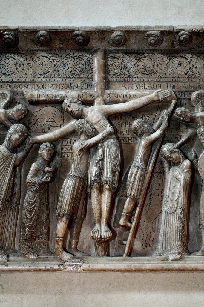 Deposition, by Antelami Benedetto, 1178, 12th Century, marble, bas, relief. Italy: Emilia Romagna: Parma: Cathedral. Detail. Cross Christ ladder nails Mary Madonna decoration : Stock Photo