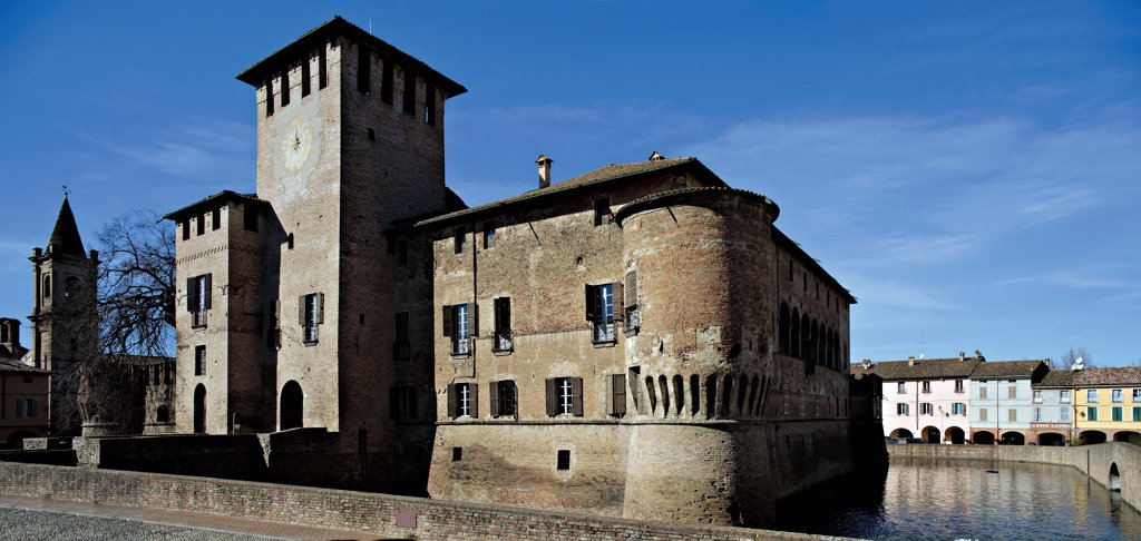 Stock Photo: 1899-47052 Fontanellato Castle, by Unknown artist, 1384, 14th Century, . Italy: Emilia Romagna: Parma: Fontanellato. View of Fontanellato Castle square tower crenellated walls moat
