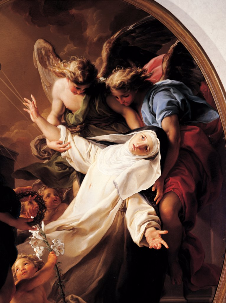 Stock Photo: 1899-47093 Ecstasy of St Catherine of Siena, by Batoni Pompeo Girolamo, 1743 - 1743, 18th Century, oil on canvas. Italy: Tuscany: Lucca: Villa Guinigi National Museum. Detail. St Theresa ecstasy abandon white black angels lily crown of thorns drapery