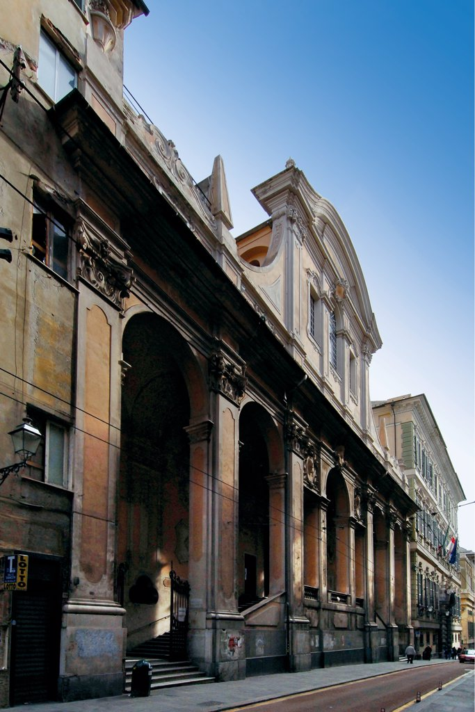 Stock Photo: 1899-47136 San Carlo Church, by Bianco Bartolomeo, 1629 - 1635, 17th Century, . Italy: Liguria: Genoa: Strada Balbi. Exterior foreshortened view facade Balbi street San Carlo Borromeo church arches cornice porch/portico pillars Genoa