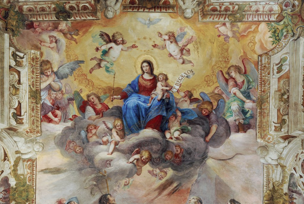 Stock Photo: 1899-47151 The Virgin with the Child Adored by Saints and Angels - Vault of the Ducal Chapel, by Carlone (Carloni) Giovanni Battista, 17th Century, fresco. Italy: Liguria: Genoa: Ducal Palace: Dogale Chapel vault. Detail fresco vault Virgin Madonna with Child angels scroll ornament painted architecture