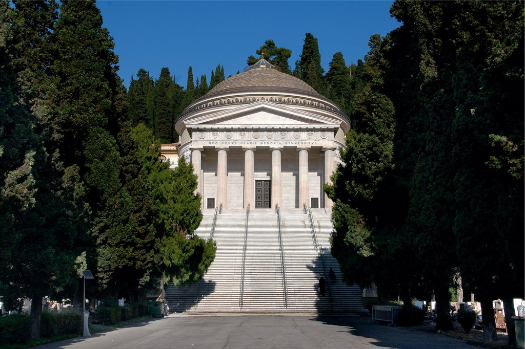 Stock Photo: 1899-47160 Cemetery of Staglieno, Genoa, by Barabino Carlo, 1835, 19th Century, . Italy: Liguria: Genoa: Staglieno Cemetery. View facade Staglieno Cemetery steps/stairs staircase avenue Doric pronaos hexastyle dome tympanum/gable columns Suffragi Chapel or Pantheon