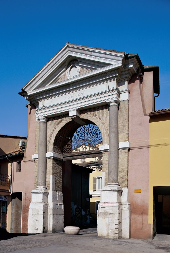 Stock Photo: 1899-47221 Porta Sisi, by Unknown artist, 1568, 16th Century, . Italy: Emilia Romagna: Ravenna: Porta Sisi. View gate Sisi Ravenna doorway columns pilasters/antas pediment arch