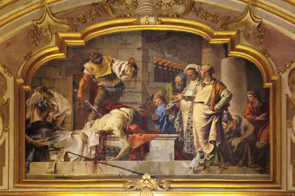 Stock Photo: 1899-47300 The Beheading of St John the Baptist, by Tiepolo Giambattista, 1732 - 1734, 18th Century, fresco. Italy: Lombardy: Bergamo: Colleoni Chapel. Whole artwork. Mixtilinear lunette martyrdom St John the Baptist beheaded executioner Salome jail/prison