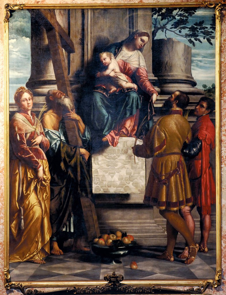 Madonna with Child Enthroned and Sts Andrew, Eusebius, Dominic and Domnio, by Bonvicino Alessandro known as Moretto da Brescia, 1540, 16th Century, oil on canvas. Italy: Lombardy: Bergamo: Sant'Andrea Apostolo church. All Madonna Infant Jesus/Christ Child/Baby Jesus/Child Jesus throne Sts Andrew Eusebia Dominic Domnio fruit stand apples floor columns cross branch palm martyrs tissue/fabric drapery sandals yellow red blue : Stock Photo