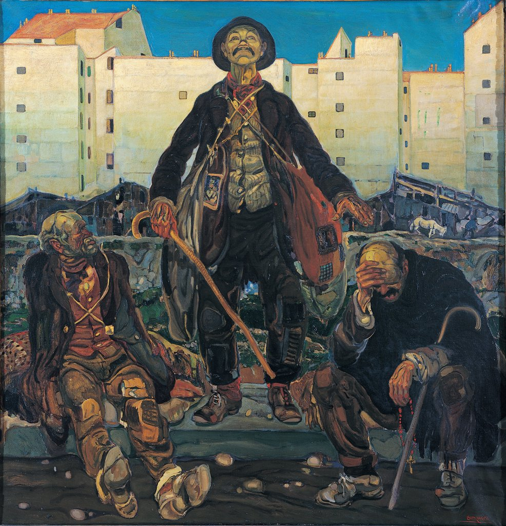 Stock Photo: 1899-47379 Unpleasant People, by Bonzagni Aroldo, 1918, 20th Century, oil on canvas. Private collection. Whole artwork. Buildings city huts tramps derelicts old beggars sticks rags down-and-outs waste bags stones poor brown black gray yellow