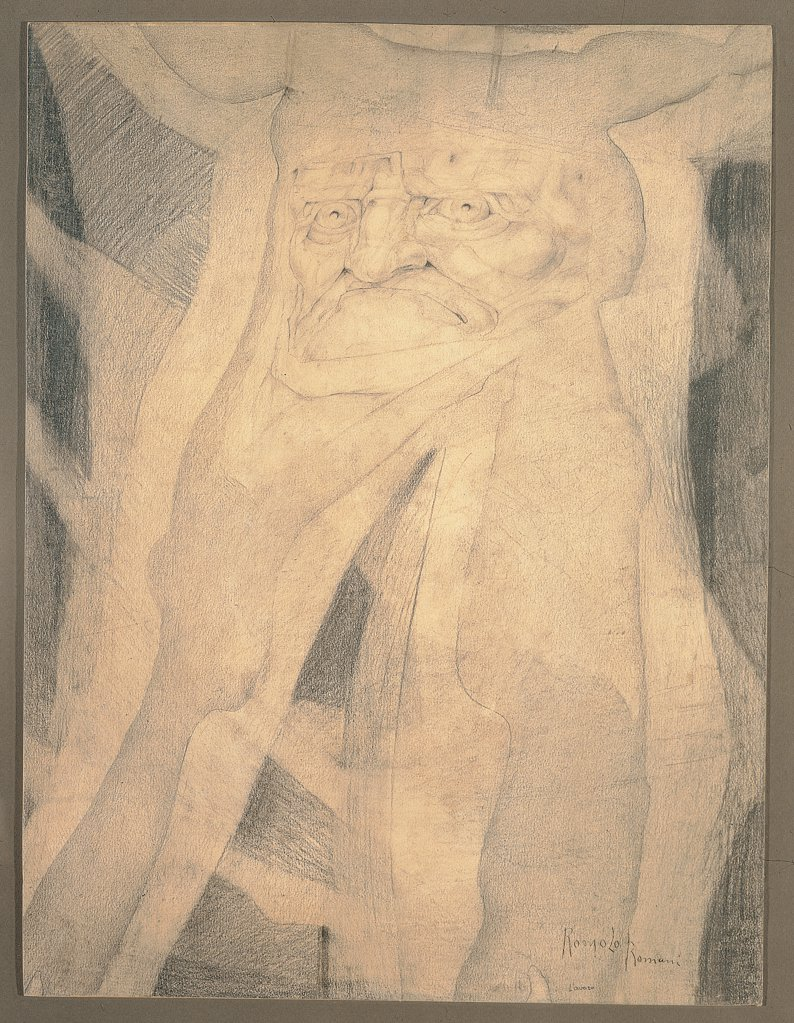 The Miser Man or Resentment, Grudge, by Romani Romolo, 1903 - 1904, 20th Century, pencil on board. Private collection. All face monster grimace : Stock Photo