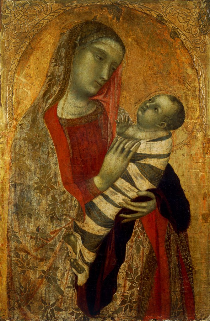 Madonna with Child, by Lorenzetti Ambrogio, 1320, 14th Century, tempera on panel. Italy: Lombardy: Milan: Brera Art Gallery. Whole artwork. Madonna mantle/cloak embroidery flowers red gold Baby/Child Jesus aureole/halo : Stock Photo