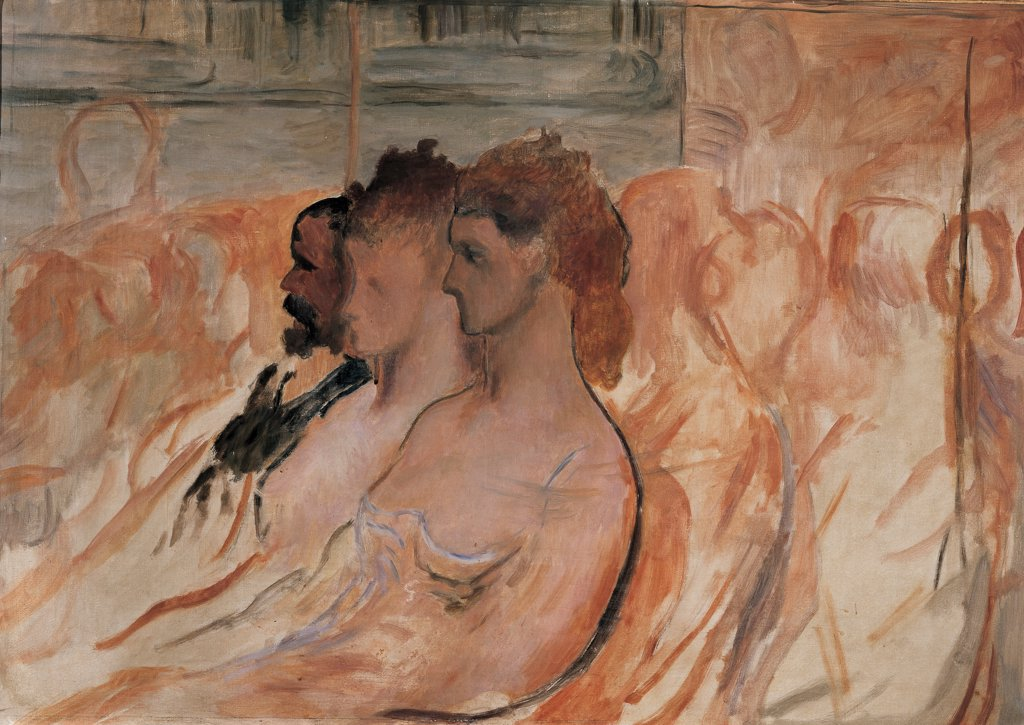 Stock Photo: 1899-47394 At the Theater, by Daumier Honore, 1865, 19th Century, oil on canvas. Italy, Private collection. Whole artwork. Stalls theater three bourgeois figures two ladies man.