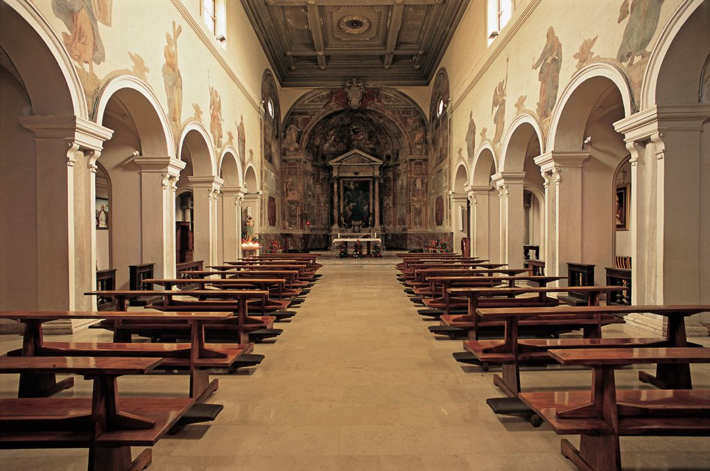 Stock Photo: 1899-47445 Santa Prisca Church, by Lambardi Carlo, 5th Century, Unknow. Italy, Lazio, Rome, Santa Prisca Church. Whole artwork. View nave ogive arches supported by pillars frescoed presbyteral area altar with altarpiece coffered ceiling.