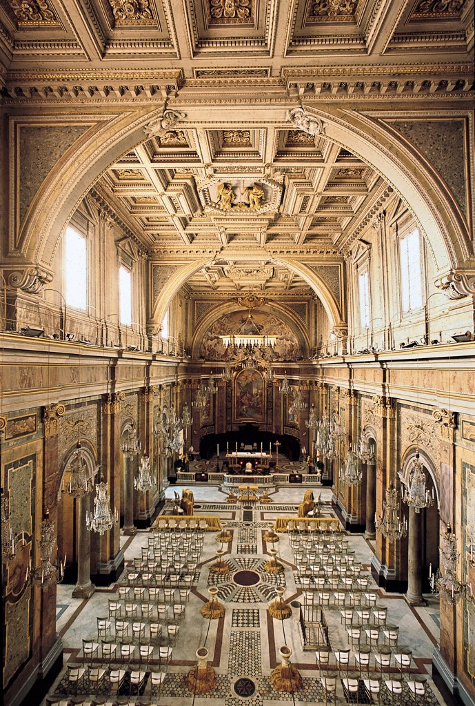 Stock Photo: 1899-47487 Basilica of Santi Giovanni e Paolo, by Canevari Antonio, Gargani Andrea, 12th Century, Unknow. Italy, Lazio, Rome, Santi Giovanni e Paolo Basilica. Whole artwork. Nave side-aisles divided by pilaster strips and columns arches support coffered ceiling caisson presbytery separated from nave by balustrade.