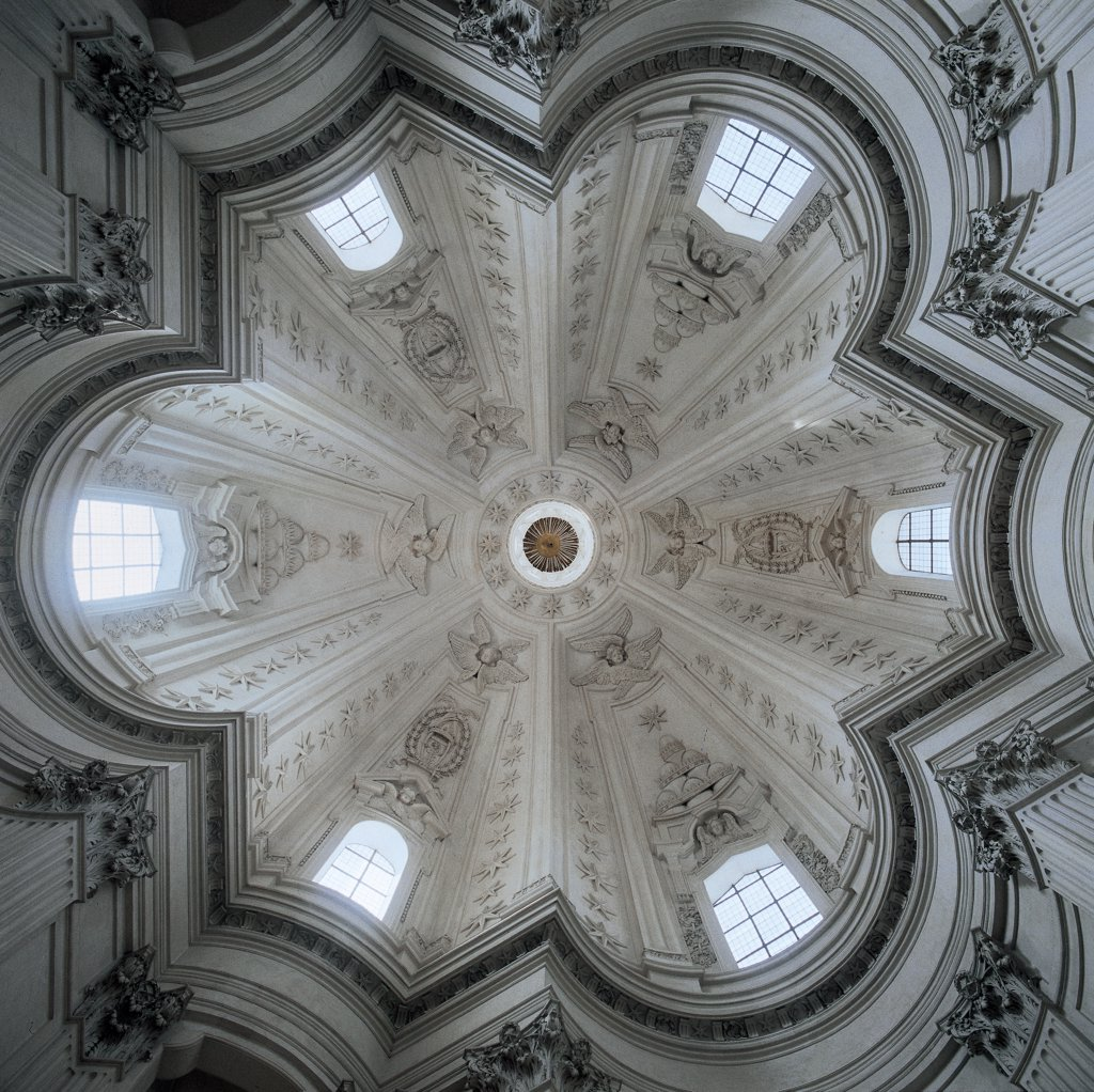 Church of Sant'Ivo alla Sapienza, Rome, by Castelli Francesco known as Borromini, 1642 - 1662, 17th Century, Unknow. Italy, Lazio, Rome, Sant'Ivo alla Sapienza Church. Interior church dome profile with varying lines of projection segments white windows light. : Stock Photo