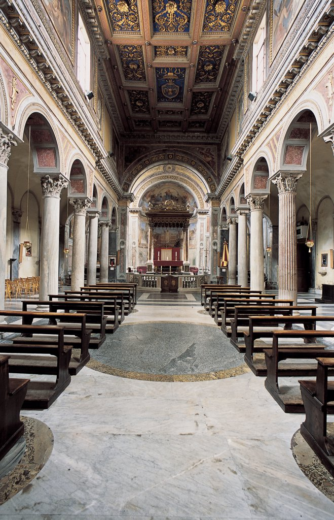 Stock Photo: 1899-47524 Facade of the Church of San Nicola in Carcere in Rome, by Della Porta Giacomo, 16th Century, Unknow. Italy, Lazio, Rome, San Nicola in Carcere Church. View of interior nave side-aisles seven re-used columns non-projecting transept richly decorated coffered ceiling caisson presbytery separated from nave by balustrade canopy.