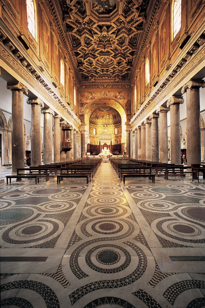 Stock Photo: 1899-47560 Church of Santa Maria in Trastevere, by sketch Fontana Carlo, 4th Century, Unknow. Italy, Lazio, Rome, Santa Maria in Trastevere Basilica. View of nave seprated from side-aisles by granite columns with early-Christian Ionic capitals coffered ceiling caisson Cosmatesque floor with marble inlay presbytery mosaic decoration with gold background wooden choir.