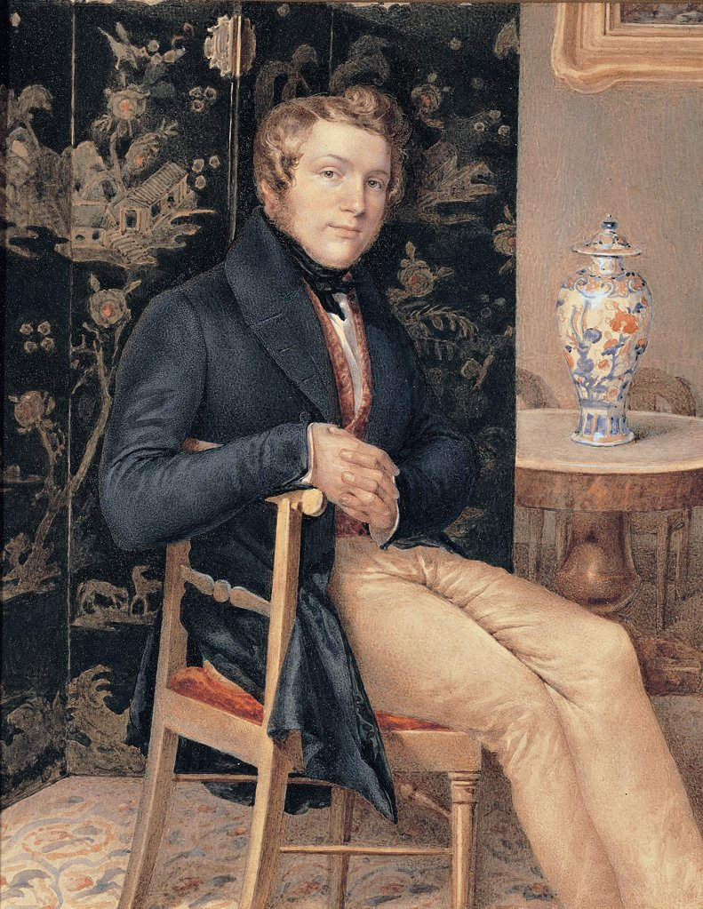 Stock Photo: 1899-47578 Man portrait in an interior, by Molteni Giuseppe, 1835, 19th Century, oil on canvas. Italy, Lombardy, Milan, Private collection. Whole artwork. Young man jacket waistcoat foulard chair interior bourgeois screen lacquer decoration oriental tea-table Chinese pot picture frame: cornice carpet.