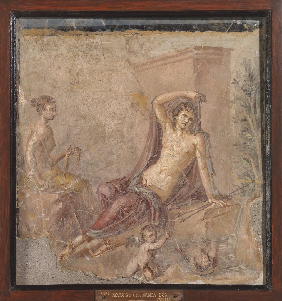 Stock Photo: 1899-47640 Narcissus and Echo, by Unknown, 62 - 79, 1st Century, painted stucco. Italy, Campania, Naples, National Archaeological Museum, from Pompeii. Whole artwork. Young woman naked breast boy man putti.
