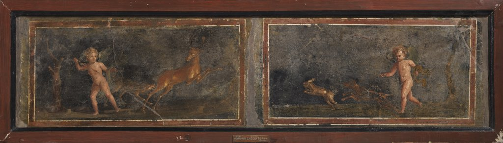 Cupids hunting for deer and hares, by Unknown, 62 - 79, 1st Century, painted stucco. Italy, Campania, Naples, National Archaeological Museum, From the Vesuvio Area. Whole artwork. Putti winged cupids wings infant child children deer hare. : Stock Photo