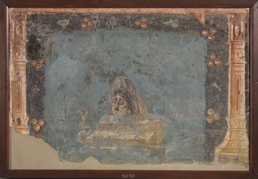 Stock Photo: 1899-47668 Andromeda's mask, by Unknown, 62 - 79, 1st Century, painted stucco. Italy, Campania, Naples, National Archaeological Museum, from Herculaneum, House of the Deer. Whole artwork. Mask face light blue: azure expression hat sadness terror columns garland.