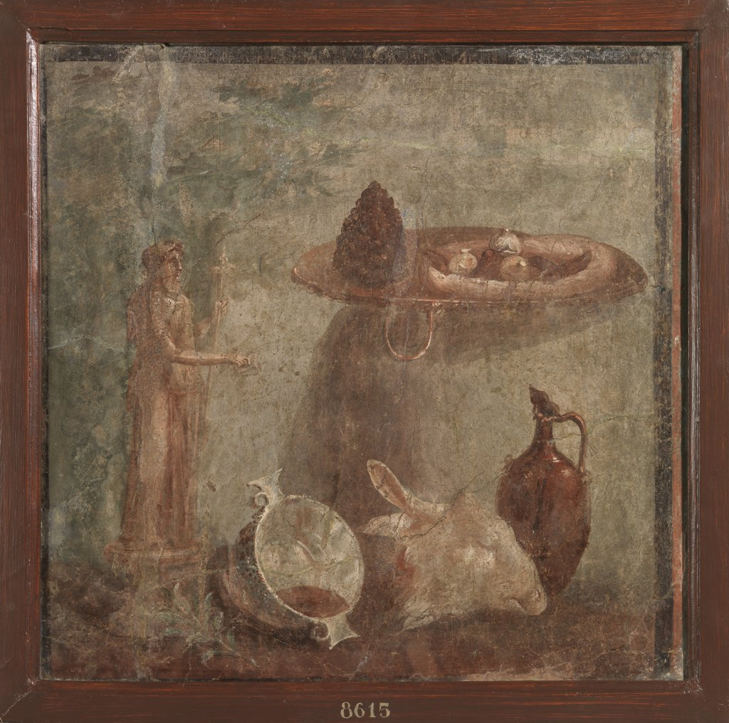 Still life (sacrifice to Dionysus), by Unknown, 62 - 79, 1st Century, painted stucco. Italy, Campania, Naples, National Archaeological Museum, from Herculaneum, House of the Deer. Whole artwork. Pitcher sheep head dish fruit cup statuette Dionysus. : Stock Photo