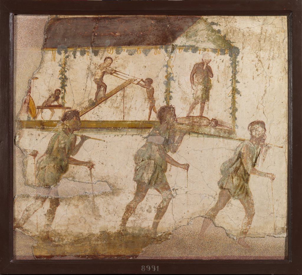 Procession of carpenters, by Unknown, 1st Century, painted stucco. Italy, Campania, Naples, National Archaeological Museum, From Pompeii. Whole artwork. Men procession sedan-chair saw joiners deceased. : Stock Photo