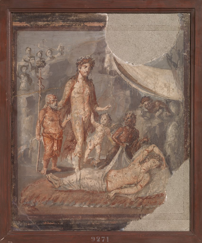 Stock Photo: 1899-47691 Dionysus and Ariane, by Unknown, 41 - 62, 1st Century, painted stucco. Italy, Campania, Naples, National Archaeological Museum, from Pompeii, House of Marcus Lucretius. Whole artwork. Wall decoration Dionysus Ariadne putto naked satyr male nude naked woman cradling.